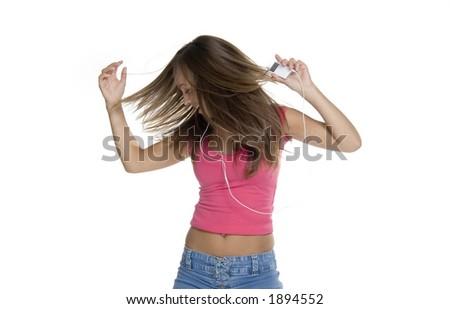 teen girl loves music - stock photo