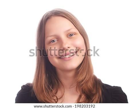 teen girl making funny faces on white background isolated on white, studioshot