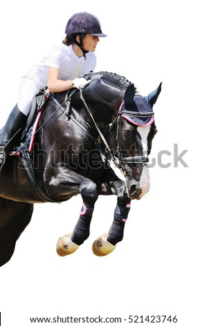 Teen  girl on black horse in jumping show, isolated on white