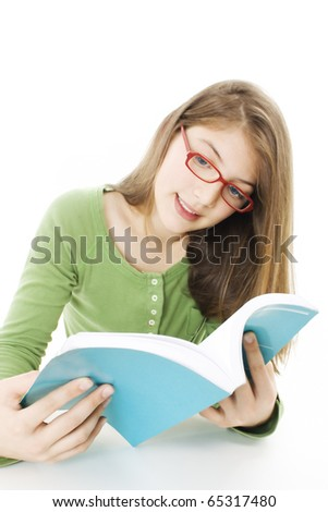 Teen girl reading book , isolated on white background