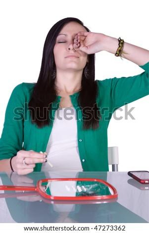 Teen Girl Taking Drugs - Teenage Drug Addiction Problem Cocaine - stock photo