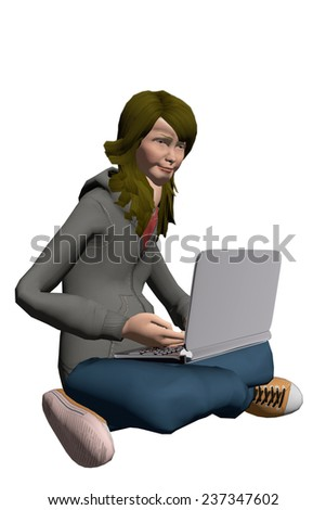 Teen girl using a laptop - stock photo