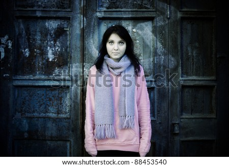 teen girl wearing second-hand clothing and living on the street - stock photo
