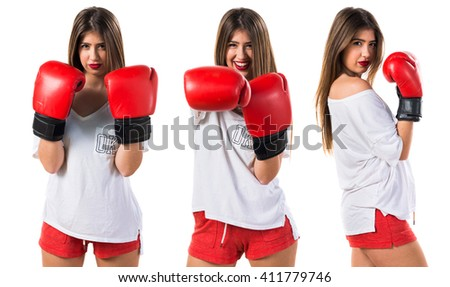 Teen girl with boxing gloves