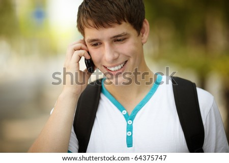 teen on the phone - stock photo