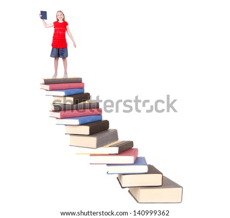 Teen on top of book stair case holding book isolated white background