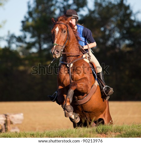 Teen rider leaps onto a table on a cross country course - stock photo