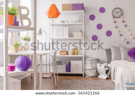 Teen Room White Interior With Color Details