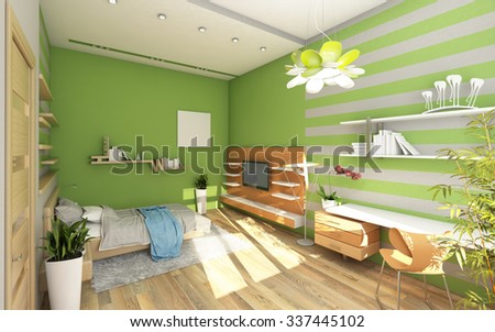 Teen's Room With Colored Wall 3d Rendering - stock photo