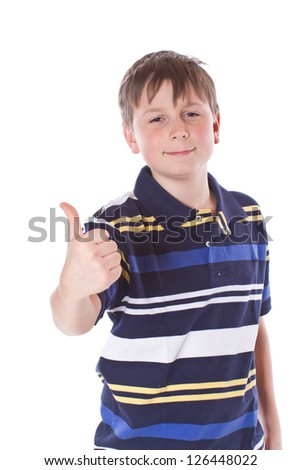 "Teen Shows hand ""excellent"" on a white background - stock photo"