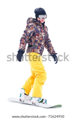 Teen snowboarder isolated on white background - stock photo