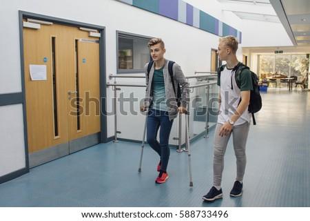 walking naked school hall