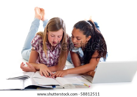 teen study with laptop - stock photo