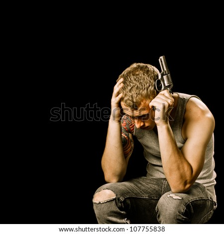 Teen Suicide Depression Concept Teenager Male Stock Photo ...