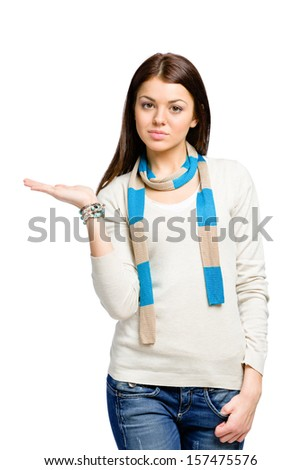 Teen wearing colored scarf with her palm up, isolated on white - stock photo