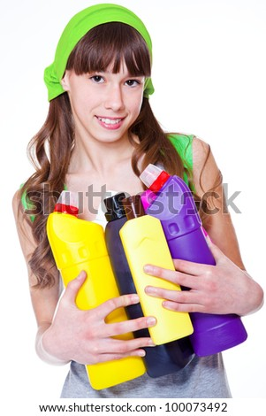 Teen with detergents, over white - stock photo