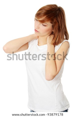 Teen woman heaving neck pain, isolated on white