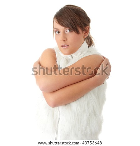 Teen woman in fur jacket with - cold