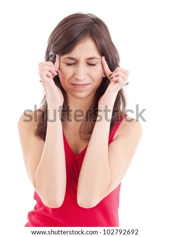 Teen woman with headache, isolated on white - stock photo