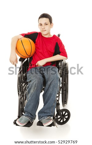 Teenage athlete in a wheelchair, holding his basketball.  Full body isolated on white. - stock photo