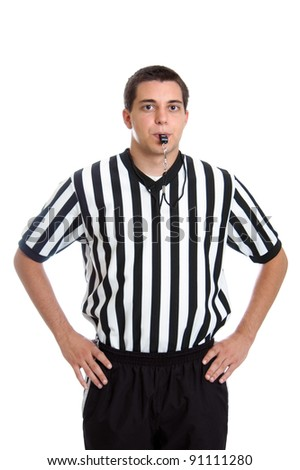 Teenage basketball referee giving sign for blocking foul isolated on white - stock photo