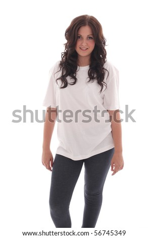 Teenage beauty in a clean white t-shirt ready for text or design to be added - stock photo