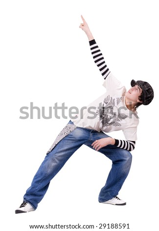 Teenage boy dancing Locking or Hip-hop dance on isolated background. His look up and raise his hand with finger for show something.