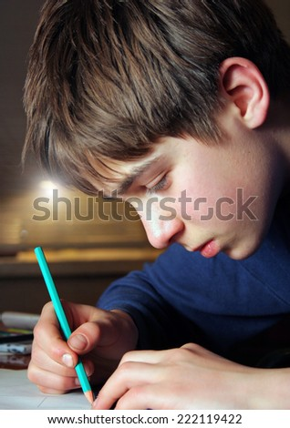 Teenage Boy doing Homework in the Home Room - stock photo