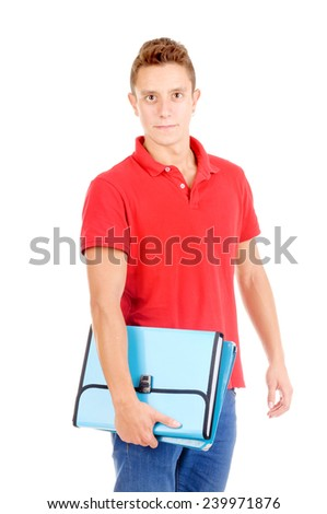 teenage boy holding booksl isolated in white - stock photo