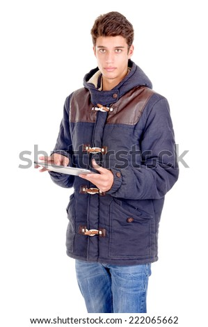 teenage boy holding tablet isolated in white