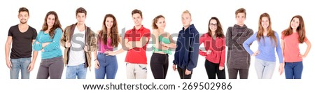 teenage boy isolated in white - stock photo