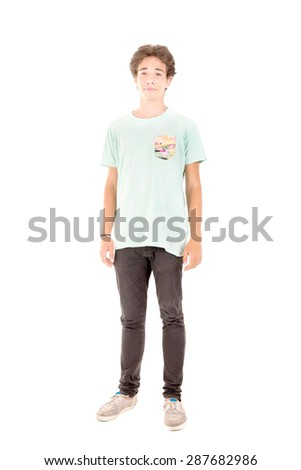 teenage boy isolated in white background - stock photo