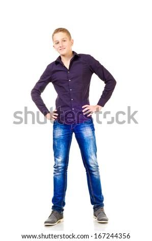 teenage boy isolated on a white background - stock photo