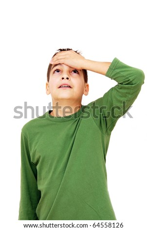 teenage boy with arm on forehead isolated on white