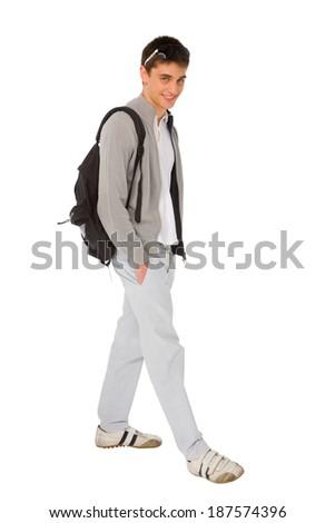 teenage boy with backpack - stock photo