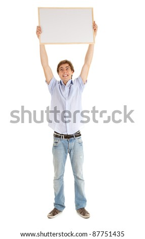 teenage boy with blank sign, white background - stock photo