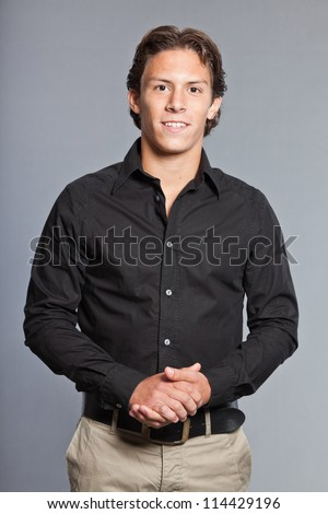 stock-photo-teenage-boy-with-brown-hair-and-eyes-wearing-black-shirt ...