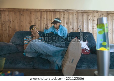 Teenage Boys Greeting Each Other - stock photo