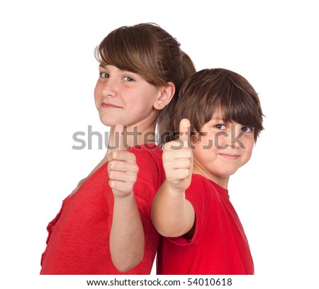 Teenage girl and boy dressed in red saying OK isolated on white background - stock photo