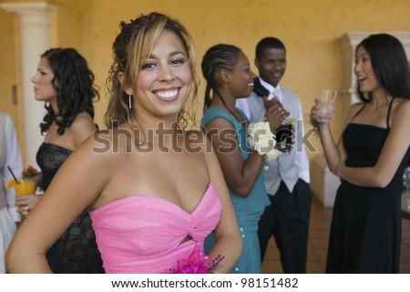 Teenage Girl at Social Event - stock photo