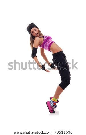 Teenage girl dancing hip-hop leaning on back, over white - stock photo