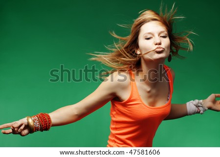 Teenage girl dancing studio series - stock photo