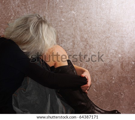 Teenage girl depressed. - stock photo