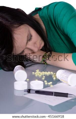 Teenage Girl Doing Drugs - Overdose Death - stock photo