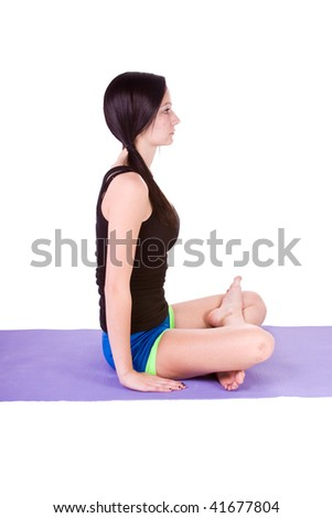 Teenage Girl doing Yoga - stock photo