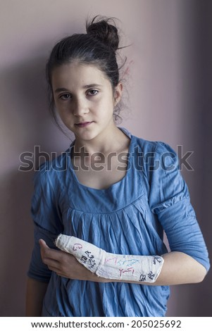 Teenage girl feeling lonely at home - stock photo