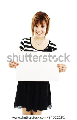 Teenage girl holding blank sign. Isolated on white background - stock photo