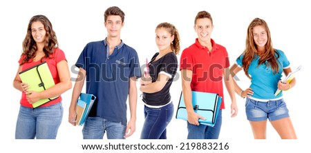 teenage girl holding books isolated in white - stock photo