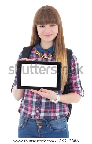teenage girl holding tablet pc with copyspace isolated on white background - stock photo