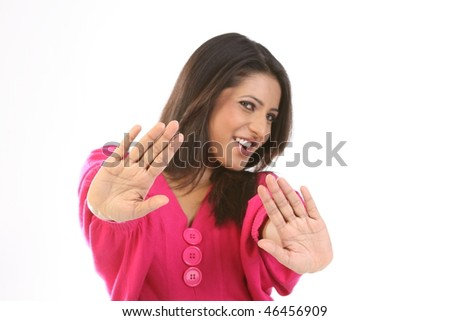 Teenage girl in avoiding action - stock photo